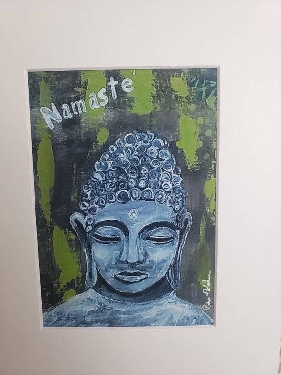 Buddha artist PRINT /Namaste'/  young Buddha / Meditation Buddha Hindu Art / White matted to 8x10