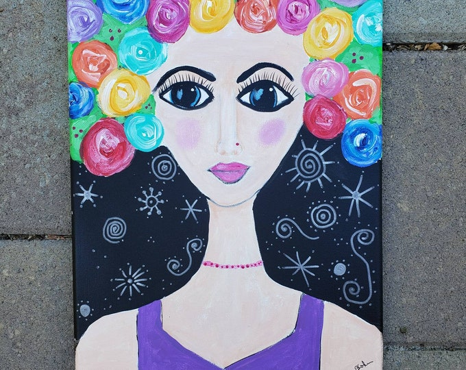 """Colorful """"Flowers in her Hair """" -  12x16 Original Acrylic Painting-Whimsical Woman painting"""