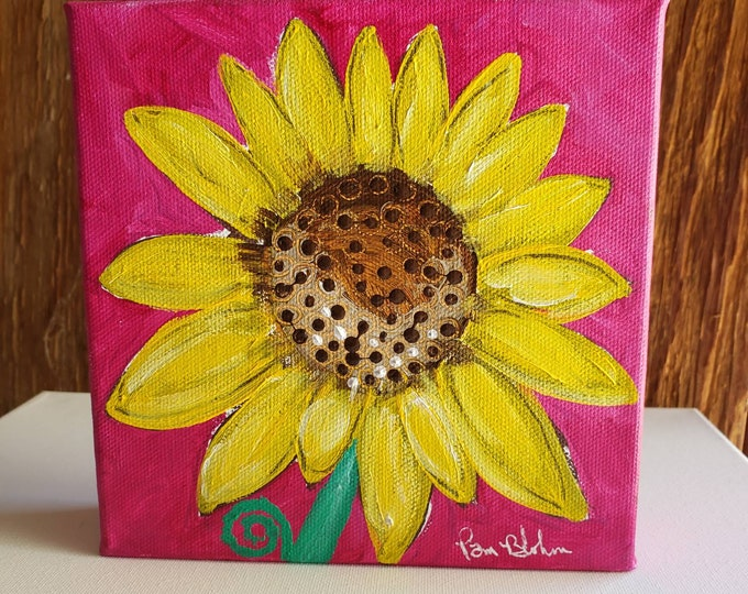"""Vibrant  """"Garden  SUNFLOWER"""" Original Acrylic Painting- 6x6 gallery wrapped canvas- stand alone shelf art-"""