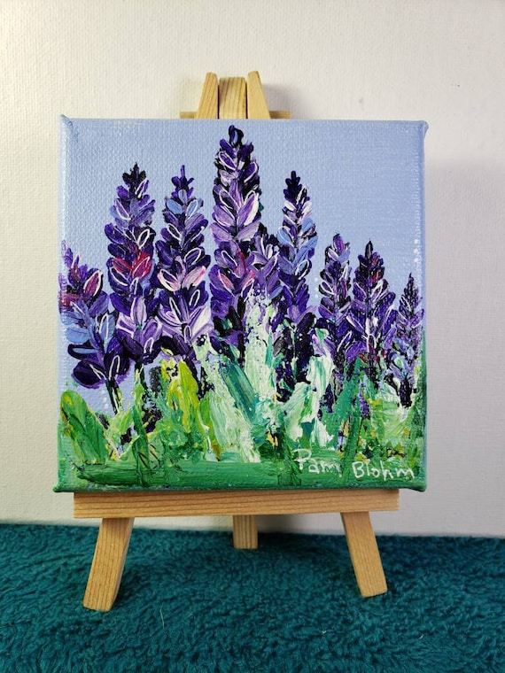 LAVENDER abstract small art original acrylic painting /4×4 flower art /Tiered Tray Decor includes display easel