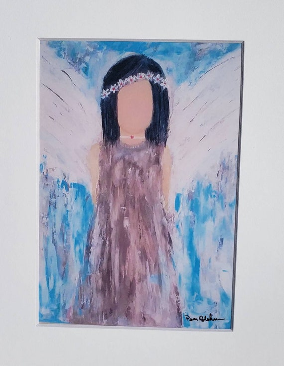 "Artist PRINT "" Moon Child"" Boho Hippy Angel Art / White Matted to 8x10/from Pam Blohm original acrylic painting"