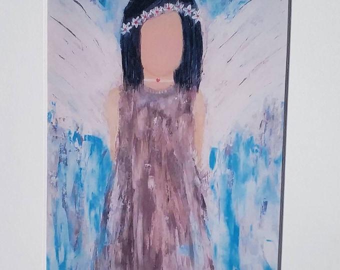 "Artist PRINT "" Moon Child"" Boho Hippy Angel Art-  5x7 Print White Matted to 8x10 - from Pam Blohm original acrylic painting- Angel Wall art"