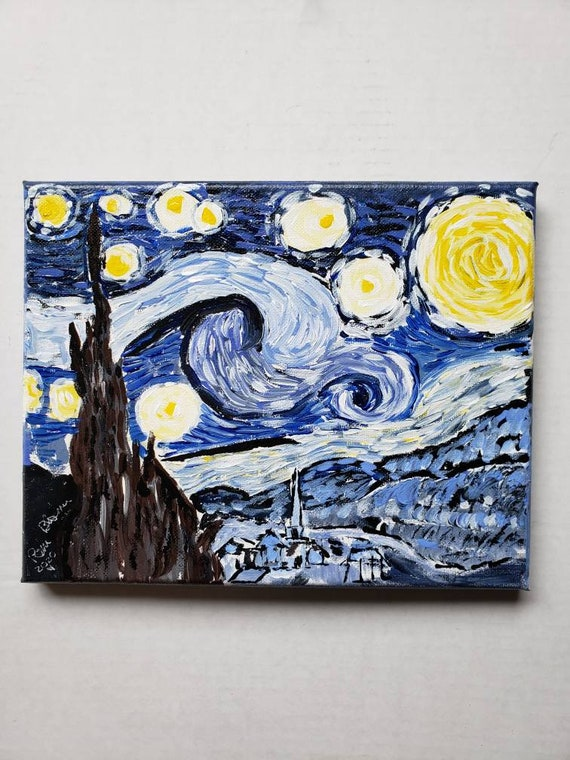 Tribute to Starry Night /8x10 original acrylic painting /wall art/Van Gogh home decor