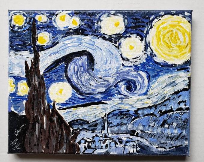 "Vincent Van Gogh ""Starry Night""  Tribute  Artwork -8x10 original acrylic painting -wall art -home decor"