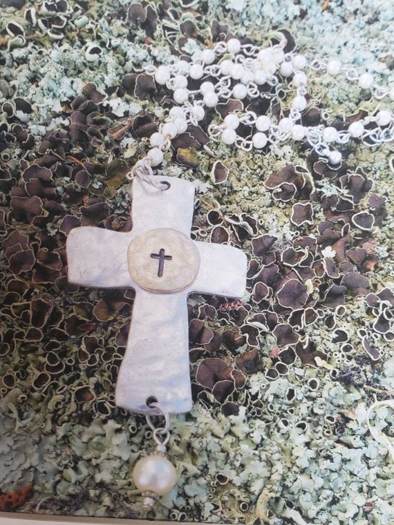 Cemetery Art / Cross photography on moss / 10x10 white Matted