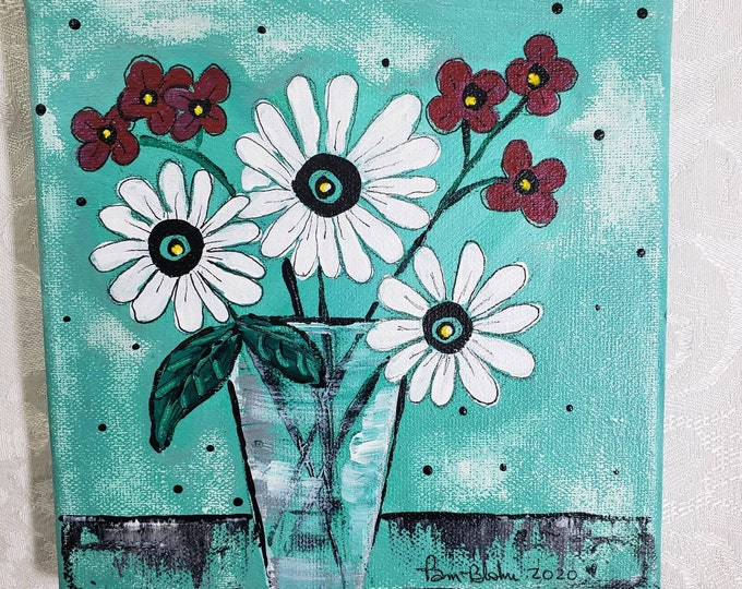 """Original Floral Acrylic Painting  """"Summer Flowers"""" in a vase /  6x6 Small Art / Gardener Gift idea / Tier tray home decor"""