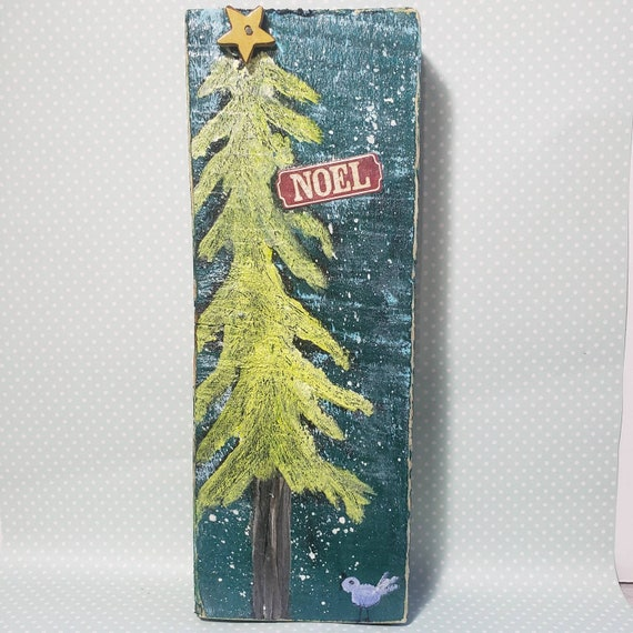"Rustic ""Noel""/ holiday Mixed Media artwork on wood."