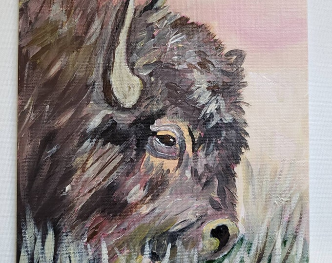 """Fine art PRINT """"Grazing Buffalo"""" - Full size 8x10 PRINT ONLY  - created from artist Original painting."""