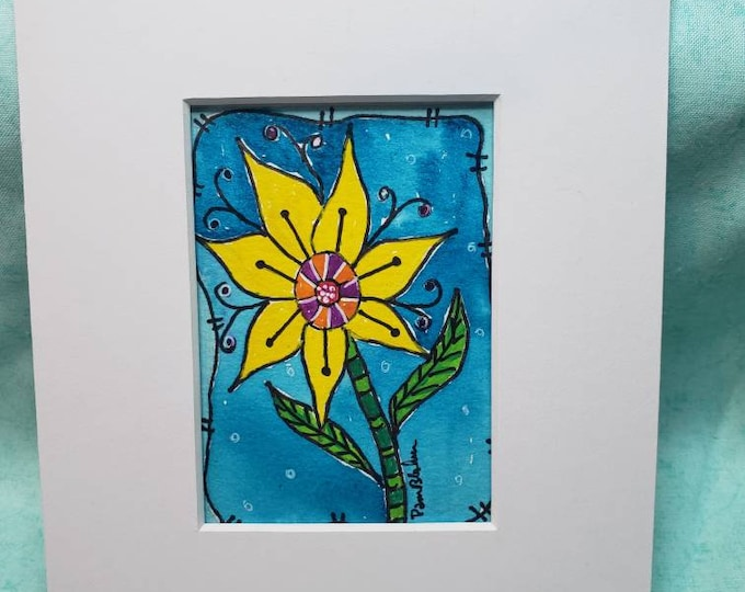 """Original Watercolor & ink painting  """"Sunflower Yellow""""  -Whimsical Flower small art -  matted to 5x7 -Flower art"""