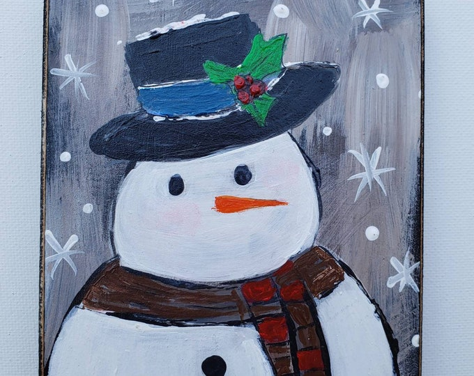 "Small art  ""My Man"" holiday decor -Snowman art -Christmas decorations- original acrylic painting on Wood"