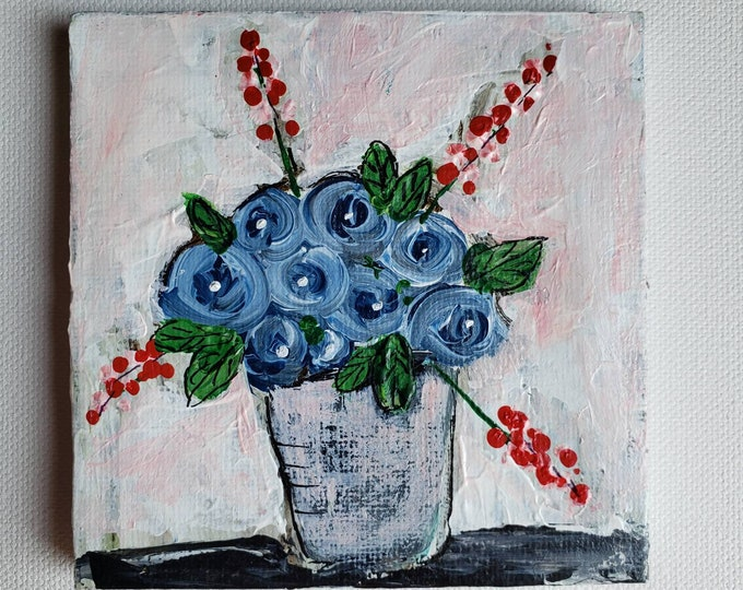 """Small art """"Sapphire Blue"""" Roses - 4x4 original acrylic painting- includes display easel"""