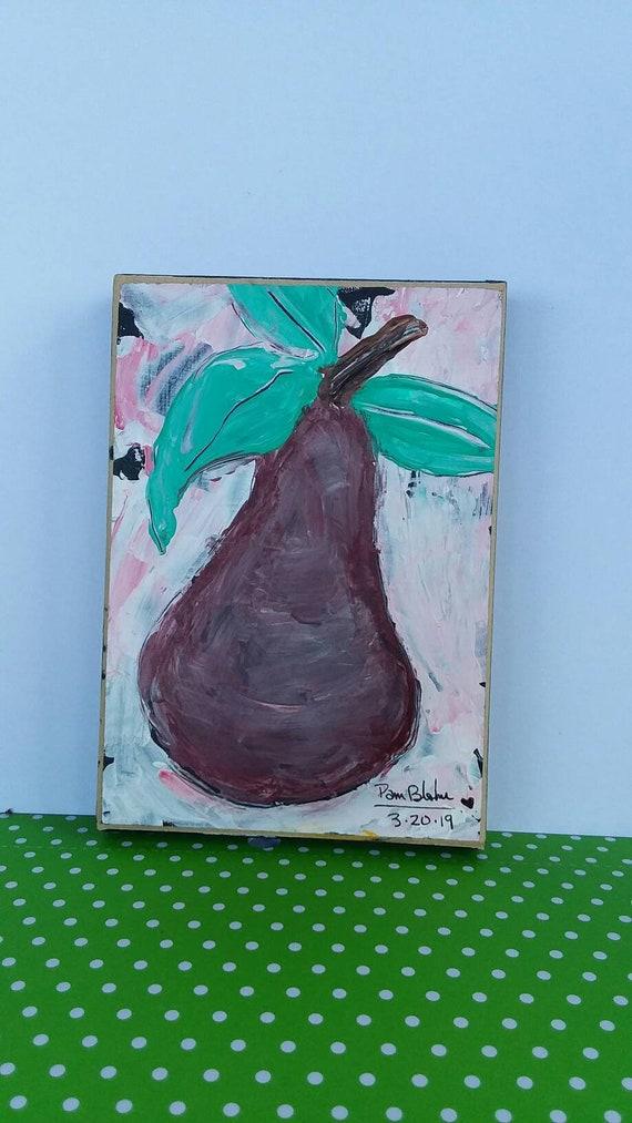 """Original """" Plum fun Pear"""" Kitchen art/restaraut art/food art/Abstract Pear/ Fruit art/ abstract original Pear"""