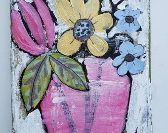 """5x7  """"Spring Fling"""" vase of flowers original acrylic painting - small art  on stretched canvas"""