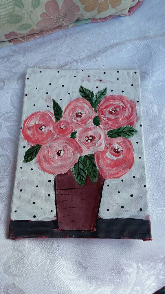 """5x7 bouquet of abstract  roses. """"Lovely Petals"""" Canvas Panel / Polka dots/home decor/wall art"""