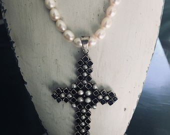 Handmade pearl necklace with sterling silver Amethyst,pearl cross.