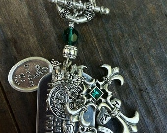 Handmade Divine Protection dog tag charm necklace.