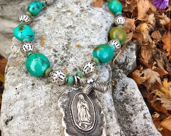 Handmade Our Lady of Guadalupe turquoise sterling silver ornate beads