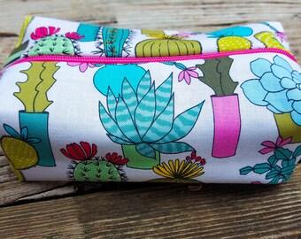 Turquoise Cactus Makeup Bag, Cactus Makeup Bag, Succulent Makeup Bag, Cactus Cosmetic Bag, Turquoise Makeup Bag, Cactus Gift, Makeup Bags
