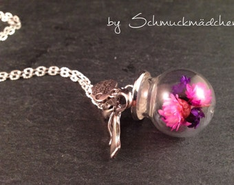 Necklace pink flowers silver long