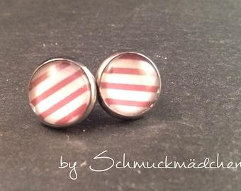 Earrings stainless steel strips Red