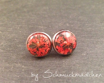 Earrings stainless steel flower red