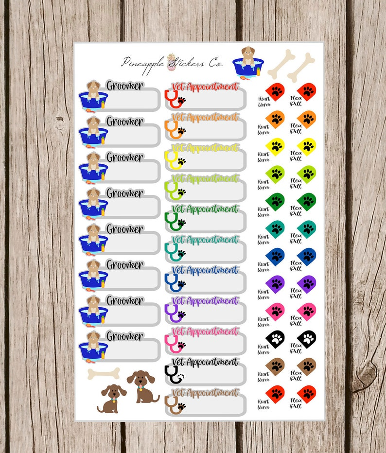 Dog Grooming Vet Appointment Cat Litter Box Planner Stickers