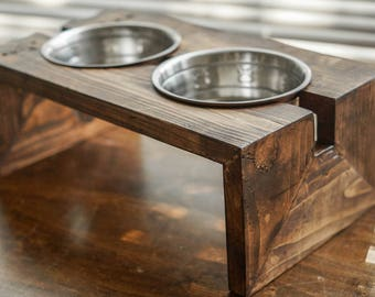 Rustic Cat & Small Dog Food Bowl Stand