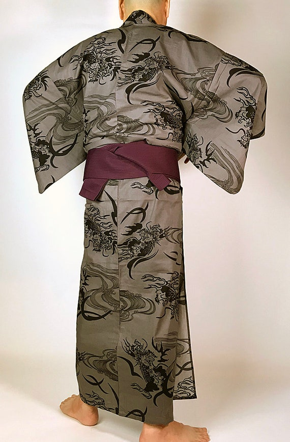 and E072903 Dragon Cool Pattern Men's Set Japanese Yukata Obi paqBUwxpRn