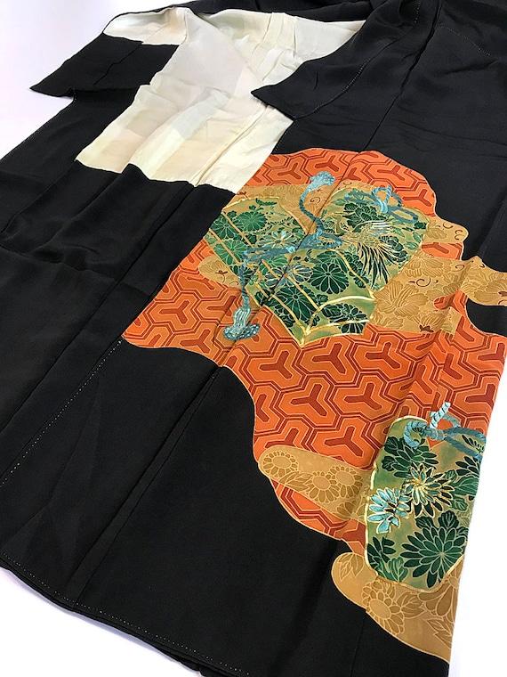 Japanese Kimono Kuro Kyo Yuzen K040502 Vintage Tomesode Antique OHfqv