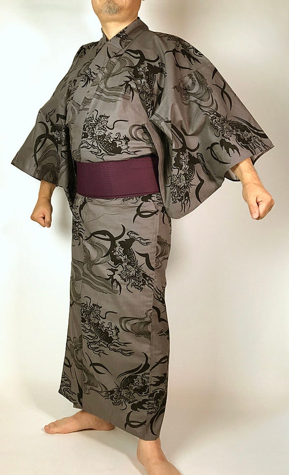 Japanese Yukata Set Cool Pattern E072903 and Dragon Obi Men's rxX6qrPwp