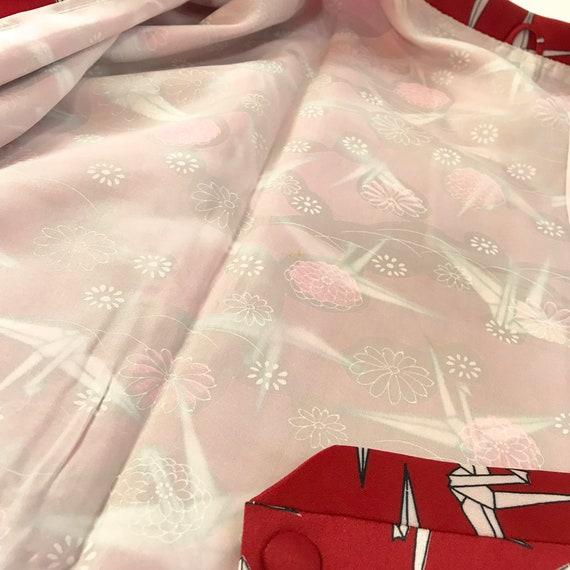 Japanese Haori Kimono Vintage Michiyuki Jacket Red E070204 ggSqzp
