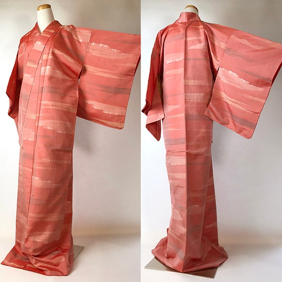 Japanese A101706 Cute Pink Pongee Tsumugi Kimono V