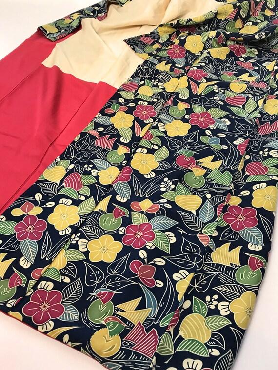 Japanese K042009 Beautiful Dark Blue Komon Kimono Elegant