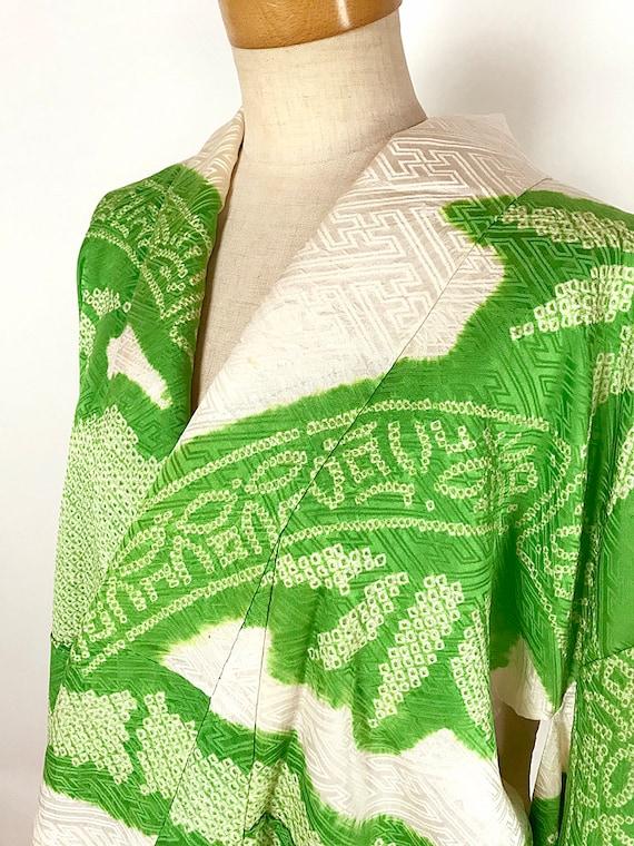 Elegant Green Japanese Kimono Light K110303 Vintage Furisode Soshibori Ptr1tq