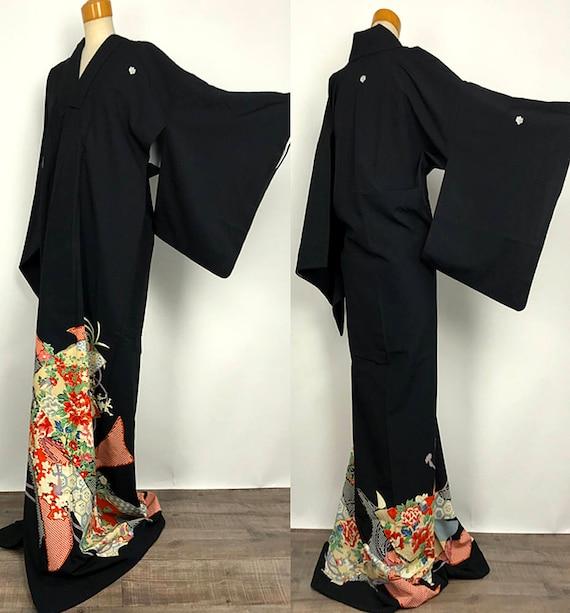 Elegant K012202 Japanese Yuzen Kuro Tomesode Synthetic Fabric Kimono Vintage