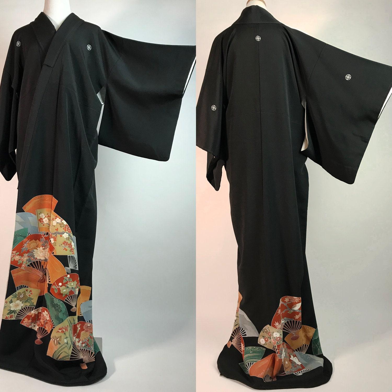 cbda7e3ab Japanese K112202 Kyo Yuzen Kuro Tomesode Kimono | Etsy