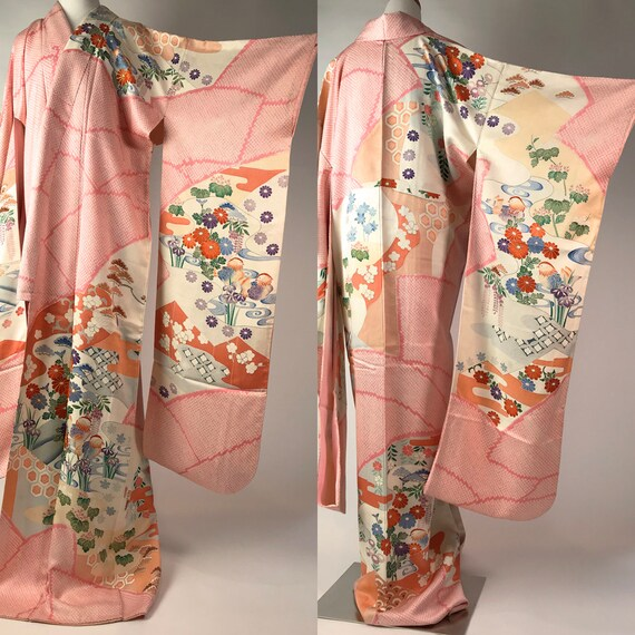 Japanese F092702 Elegant And Beautiful Kyo-Yuzen Furisode Kimono