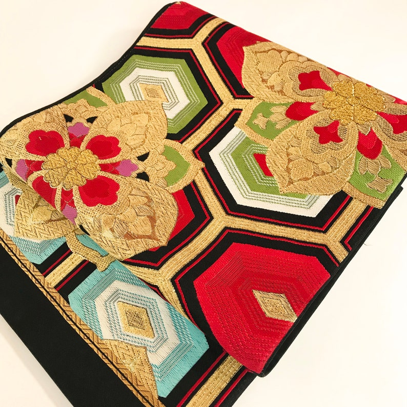 Japanese F100604 Beautiful  Kimono Belt Fukuroobi Vintage Made In Japan