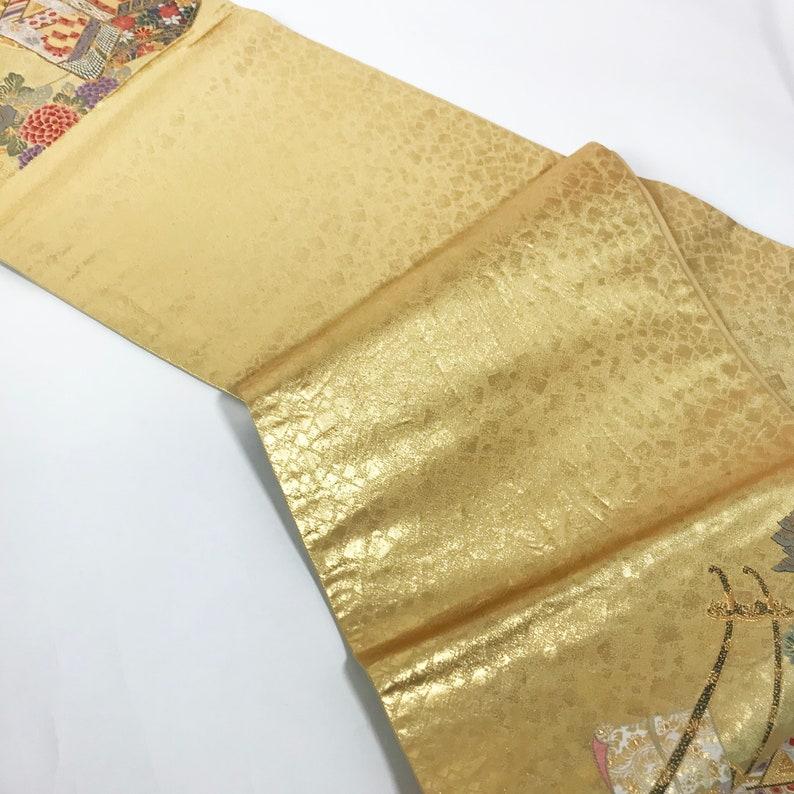 Japanese A083101 Gorgeous Gold Obi Kimono Belt Fukuroobi Vintage