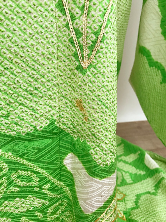 Soshibori Vintage Furisode Elegant Light K110303 Green Kimono Japanese qITw0