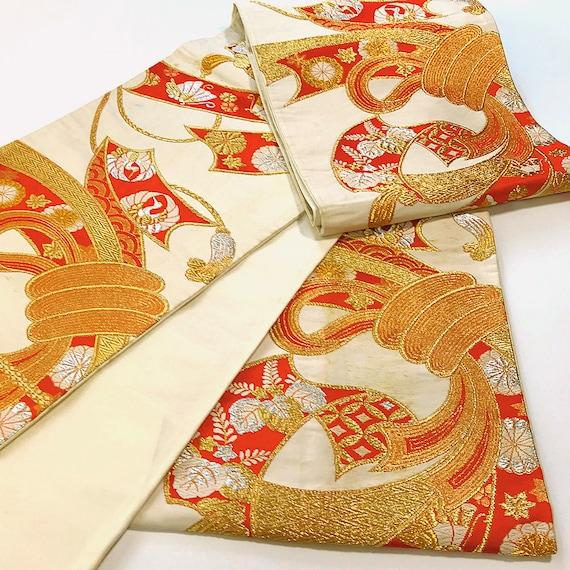 Vintage Belt Beautiful Kimono Beige K060403 Fukuroobi Japanese SfYq84I