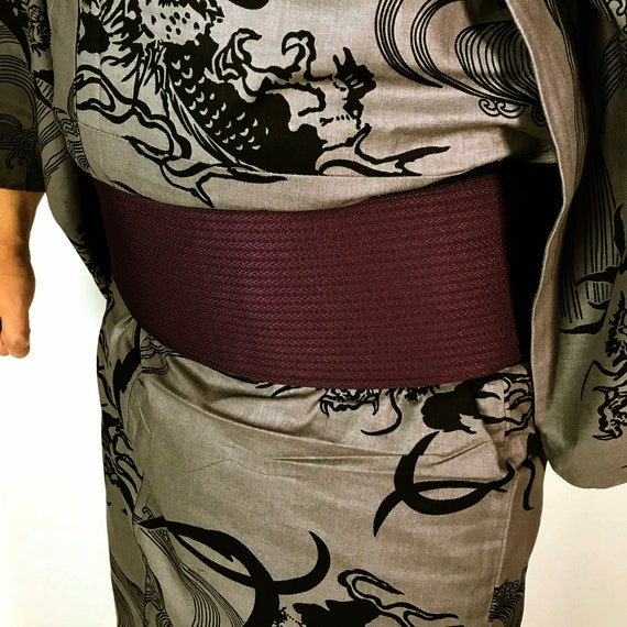 Set Men's Cool Pattern E072903 Obi Japanese Dragon and Yukata waI88H