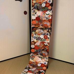 Japanese F120703 Very Cute  Obi Kimono Belt Fukuroobi Vintage