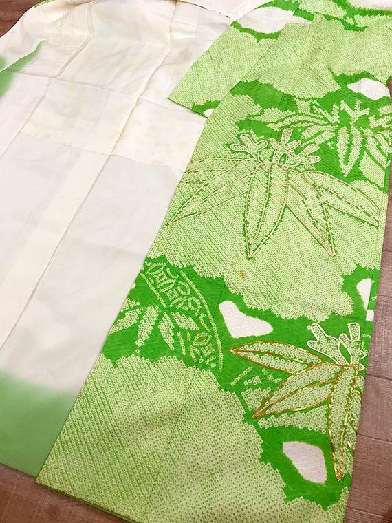 Vintage Green K110303 Elegant Soshibori Light Kimono Japanese Furisode 4Sx0qAw