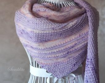 Knitted shawl, triangular shawl wrap, oversized lace shawl, extra fine merino wool shawl, purple shawl, wool scarf, gift for women