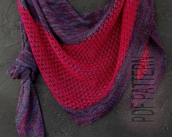 Pdf pattern, hand knit, knitted shawl wrap, pdf knitting shawl pattern, oversized lace shawl, merino wool shawl, knit triangular shawl