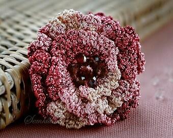Shell pink crochet flower brooch,  accessory