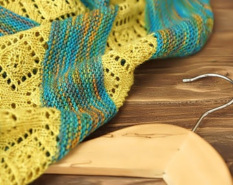 Knitted shawl, oversized lace shawl, extra fine merino wool shawl, semi circle shawl, blue yellow shawl, gift for her, women accessory