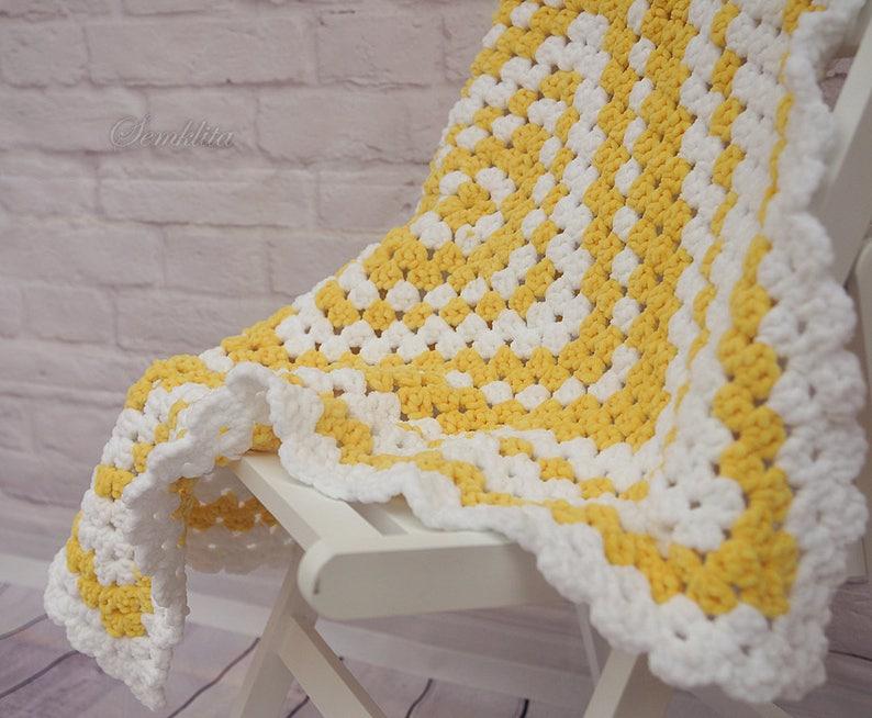 Crochet afgan blanket white and yellow blanket baby blanket