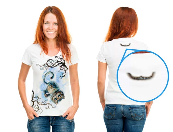 Alice Through the Looking Glass or in Wonderland Women/'s or Unisex T-Shirt by Takila Cheshire Cat Kitten